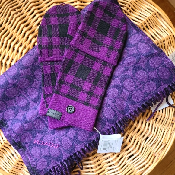 Coach Reversible Scarf and Gloves Purple Plaid NWT